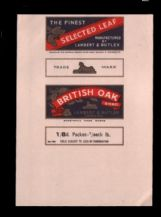 Vintage Old cigarette tobacco packet label British Oak #843